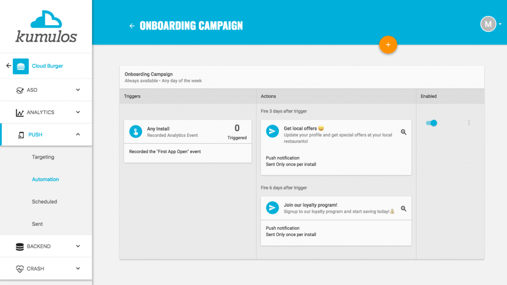 Increase retention with push notifications - onboarding campaign