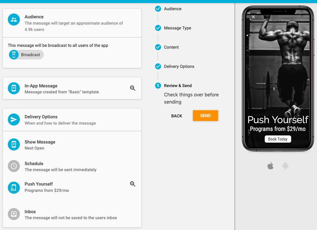 review in-app messaging