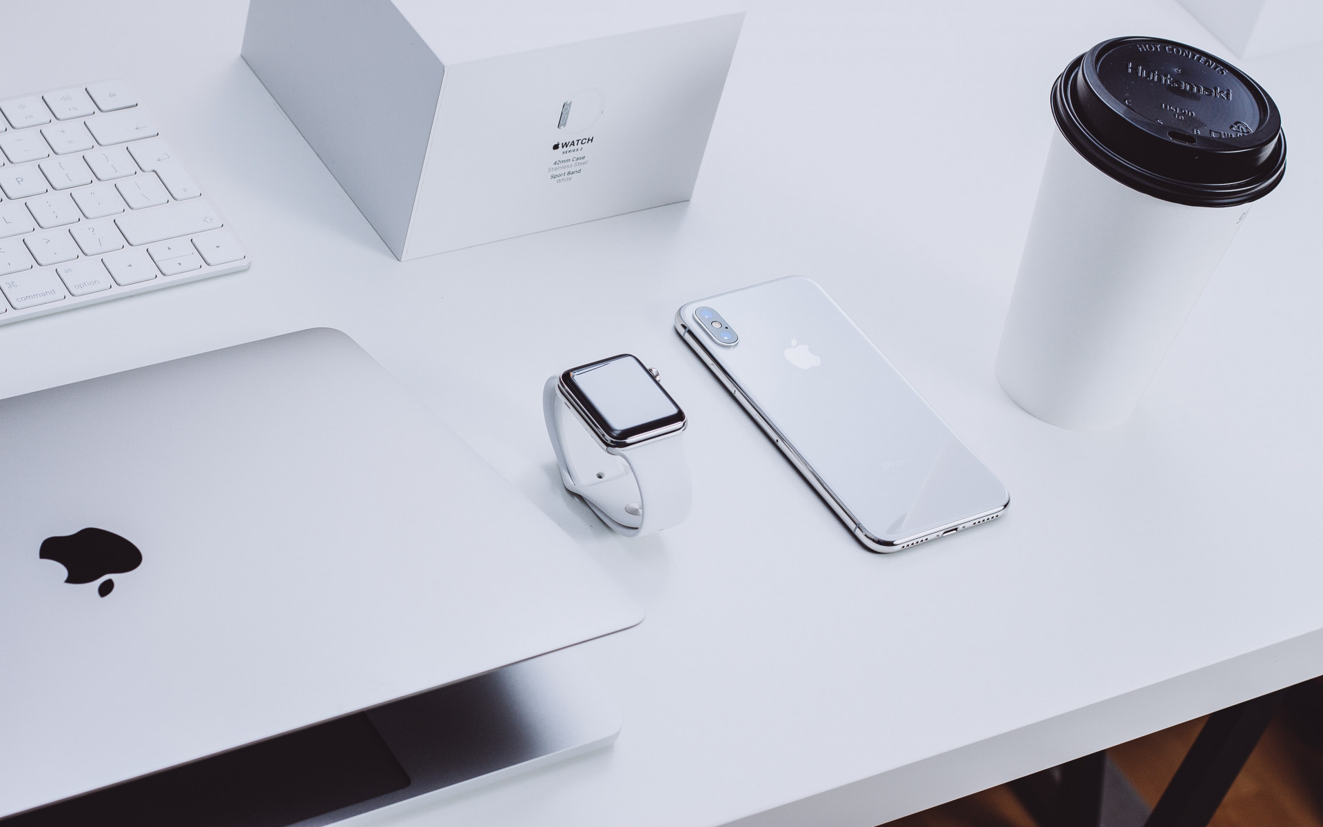 Apple products on desk