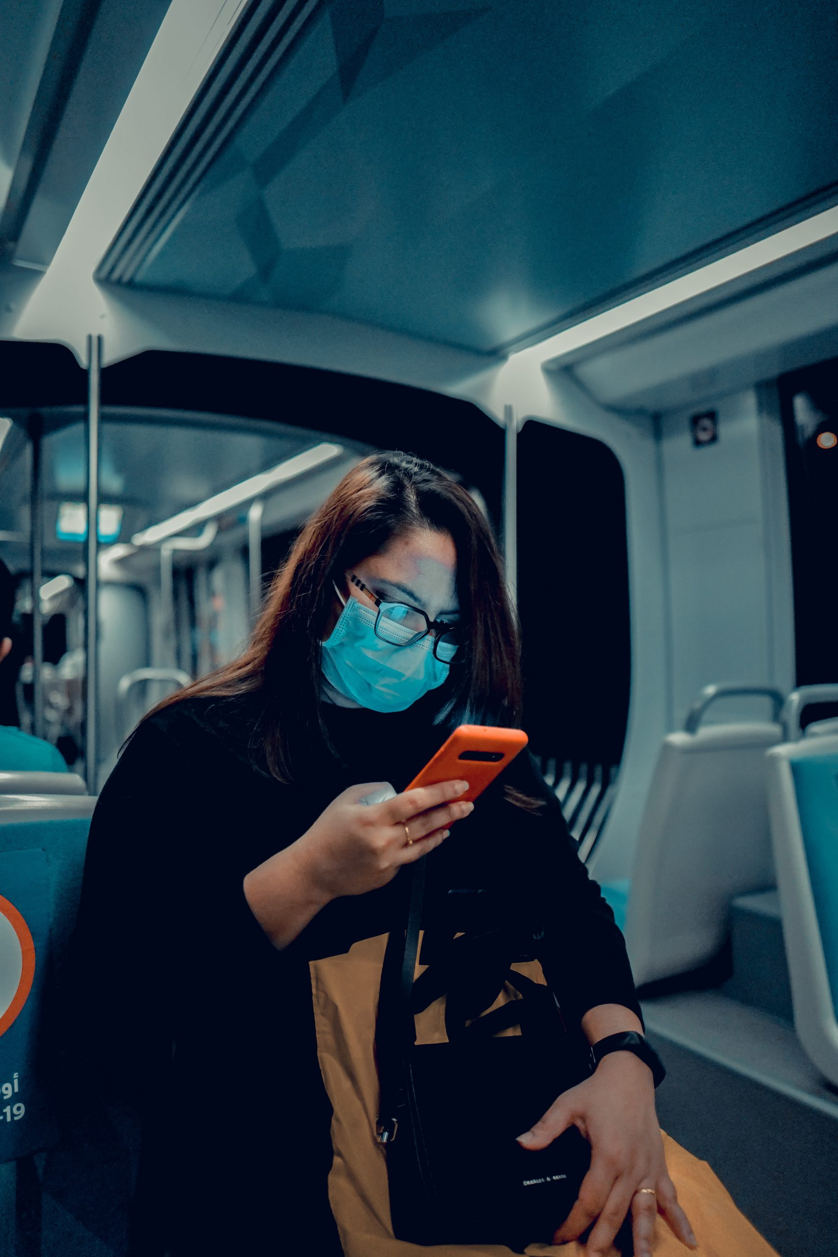 mobile user wearing mask
