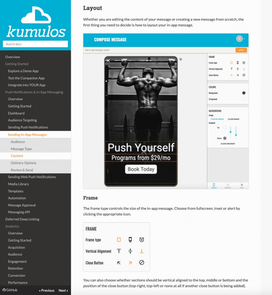 Old Kumulos docs site