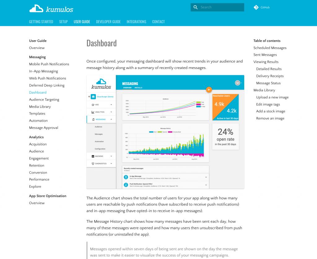 New Kumulos docs site user guide